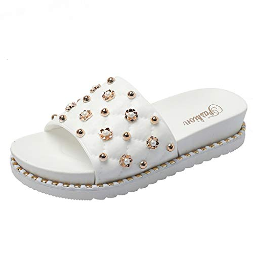 (MmNote Shoes, Women's Stylish Trendy Comfortable Summer Rivets Casual Beach Slippers Sandals Shoes White)