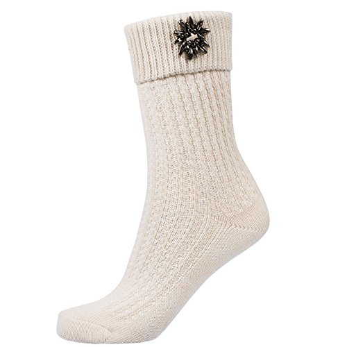 Traditional socks with Enzian Flower white size 46