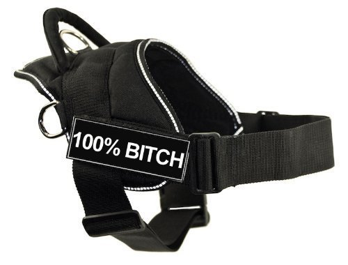 DT Fun Harness, 100% Bitch, Black with Reflective Trim, X-Large - Fits Girth Size: 34-Inch to 47-Inch