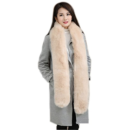 Review Men Women Winter Warm Faux Fox Raccoon Fur Collar Stole Long Scarf Shawl (Khaki)