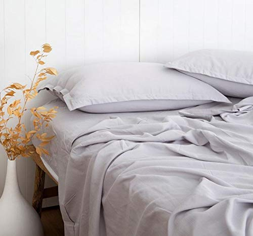 Hyaline Home Linen Look Textured 55% Bamboo 45% Cotton Light Grey Bed Sheets Set Queen, Cool & Moisture-Wicking, Natually Organic, Breathable and Durable, Fitted & Flat Sheets Deep Pocket 16