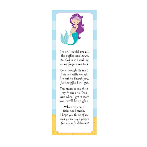 50 Mermaid Bookmarks Baby Shower Party Favor Gift