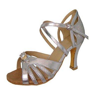 Misteriosa directa @ satén de las mujeres del salón de baile zapatos de baile de cuero sintético latino/zapatos de jazz/Swing/Salsa sandalias rojo/plata plata