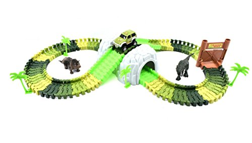 Swiss Part Car Track Race Builder System Flexible Toy Set For Kids 96 Accessories Pieces With Off Road Vehicle Tunnel Trees Dual Gate And Two Dinosaurs