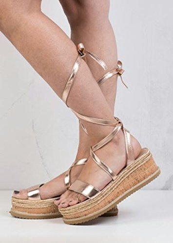 ff0a17aa148f Lace Up Braided Cork Wedge Flat Espadrille Sandals Rose Gold  Amazon.co.uk   Shoes   Bags