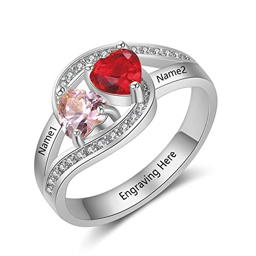 Lam Hub Fong Personalized 2 Simulated Birthstone Mothers Rings Name Engravable Couples Promise Rings for Her (Size ()
