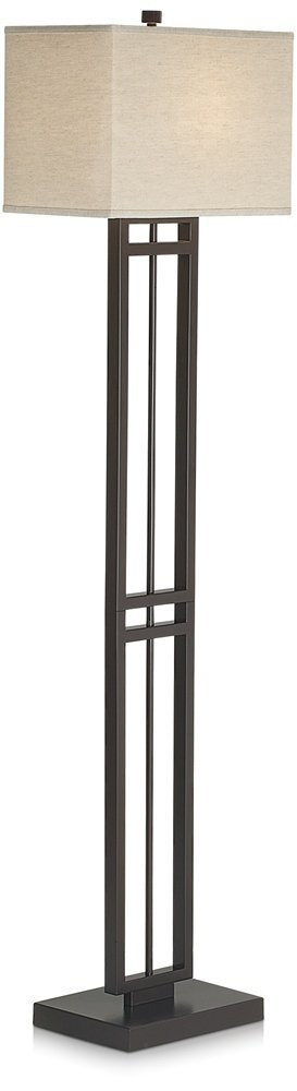 Pacific Coast Lighting 85-2470-20 Central Loft 1-Light Floor Lamp, Bronze Finish with Linen Fabric Shade