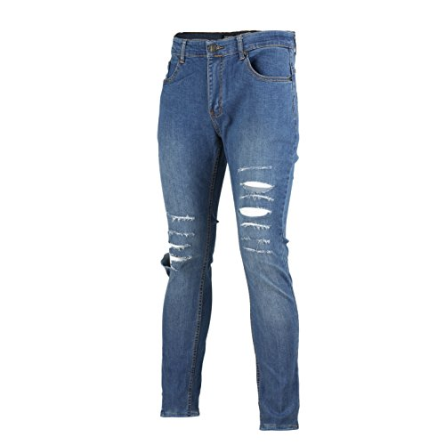 XPOSED New Mens Super Stretch Ripped Cut Jeans Skinny Slim F