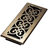 Decor Grates SPH412-A 4-Inch by 12-Inch Scroll Floor Register, Antique Brass by Decor Grates