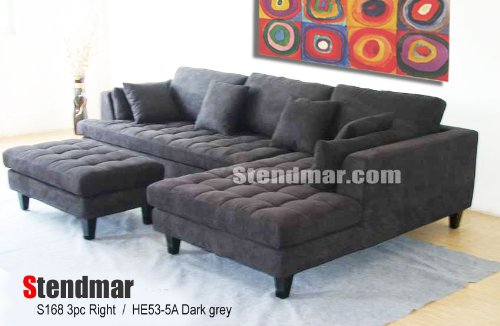 3pc New Modern Dark Grey Microfiber Sectional Sofa Chaise Ottoman Set S168RDG