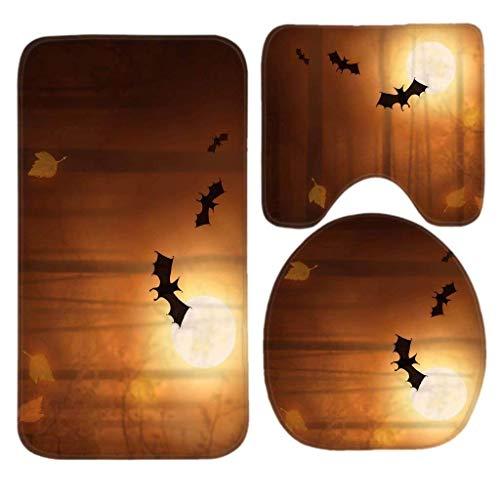 NOLIEE Bat in The Light Moon Happy Halloween Bath Mat Set,3 Piece Bathroom Mats Set Non-Slip Bathroom Rugs/Contour Mat/Toilet Cover -