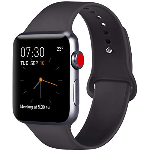 ATUP Compatible with iWatch Band 38mm 40mm 42mm 44mm Women Men, Soft Silicone Sport Band Compatible with iWatch Series 4, Series 3, Series 2, Series 1 (New Black, 42mm/44mm-M/L)