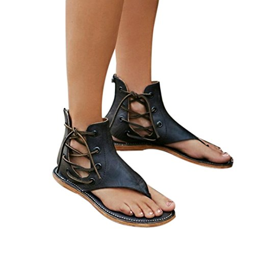 Baigoods Women Summer Pinch Flat-Bottomed Roman Sandals Strappy Sandals Ankle Flat Straps Genuine Leather Shoes (US:7, Black)