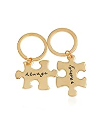 Meiligo Retro 2 Pcs Couples I Love You Always Forever Letter Puzzle Dog Tag Necklace Key Chain Square Matching Engraved Heart Letter Necklace Set