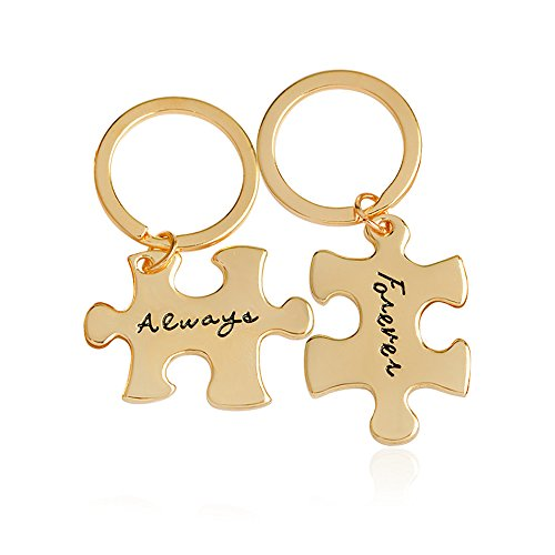 Meiligo Retro 2 Pcs Couples I Love You Always Forever Letter Puzzle Dog Tag Necklace Key Chain Square Matching Engraved Heart Letter Necklace Set (Key -