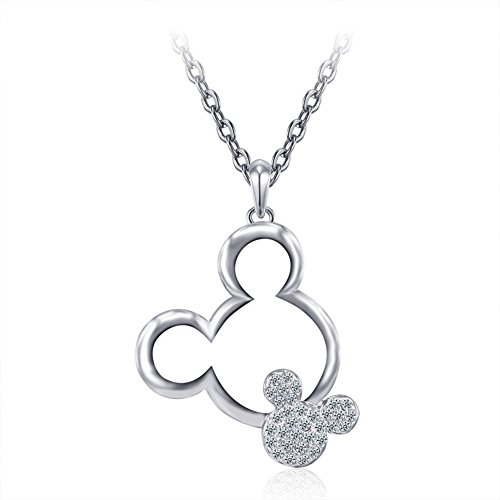 ERLUER Womens Mickey Pendant Necklaces for Women Rose Gold Platinum Plated Mouse Charm Jewelry Necklace