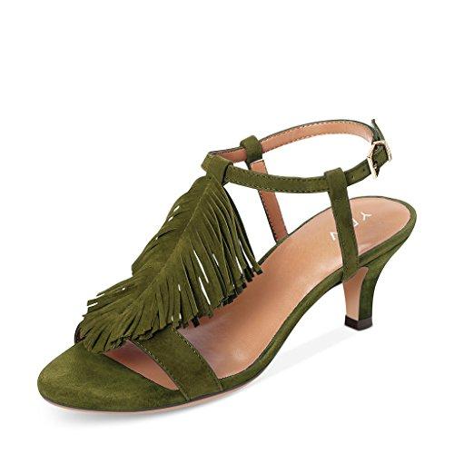 Ydn Donna Gattino Tacco A Frange Sandali A Fasce Sandalo Aperto Cinturino Alla Caviglia Scarpe Con Fibbia Verde Scuro