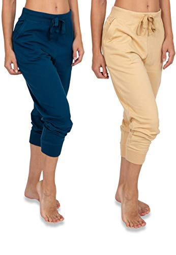 (Sexy Basics Women's 2 Pack Soft French Terry Fleece Casual/Active Capri Jogger Sweatpants (2 Pack-Warm Sand/Sailor Blue, X-Large))