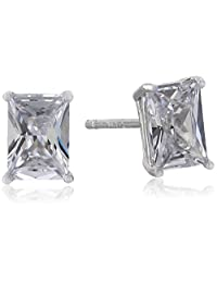 Emerald Cut Cubic Zirconia Stud Earrings (1.8 cttw)