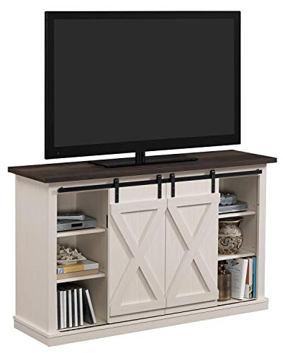 Simple Living Products Industrial 54 TV Stand – Antique Rustic Look – Sliding Doors – Vintage Design Off-White with Pine Top
