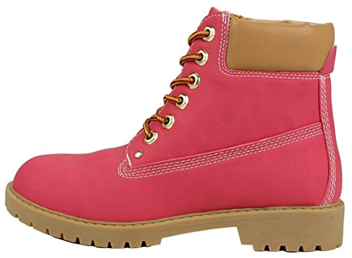Padded Tan Combat Lace Collar Boots Tone Women Fuchsia Work Fashion Up Ankle Two Zony Military fqHHwY1a4
