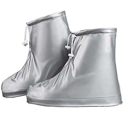 Whose Lemon Reusable Shoes Cover Rainy Waterproof Women Men Anti-Slip Thicken Sole Shoes Covers Silver XL