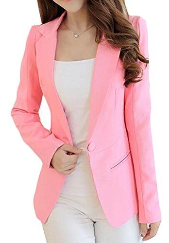 Cromoncent Womens Solid Work Suit Coat One Button Elegant Blazer Jacket Pink L