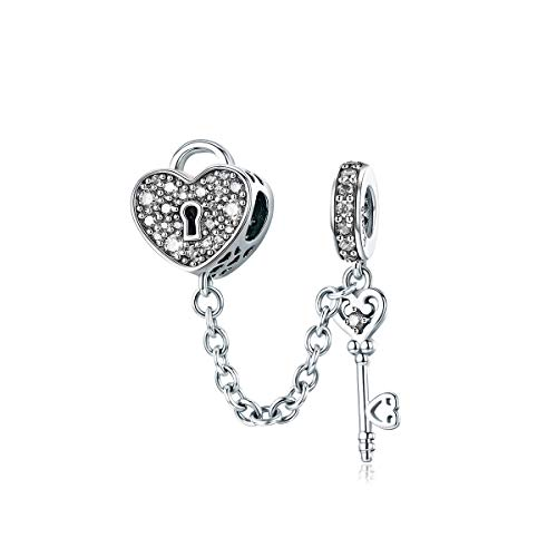 WOSTU 925 Sterling Silver Heart Charms, Lock and Key Charm Bead with Clear Cubic Zirconia for Girls Women.