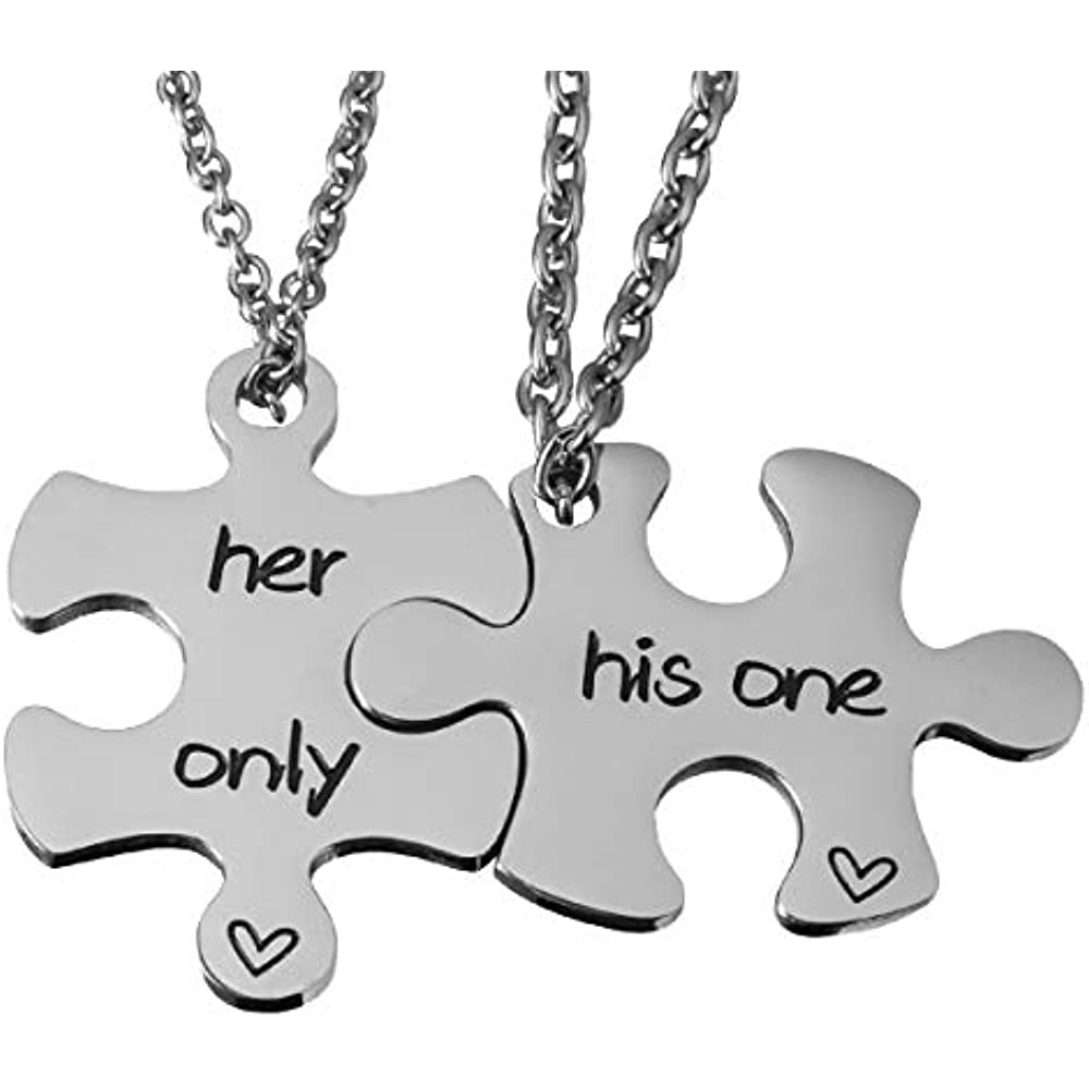 19004c2227 omodofo Valentine's Day His and Hers Puzzle Piece Pendant Necklace Keychain Set  Personalized Couples Stamped Chain Keyring (His One