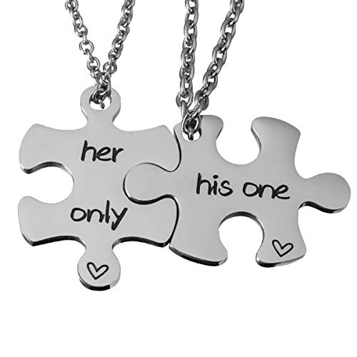 - omodofo Valentine's Day His and Hers Puzzle Piece Pendant Necklace Keychain Set Personalized Couples Stamped Chain Keyring (His One & Her Only (Necklace))