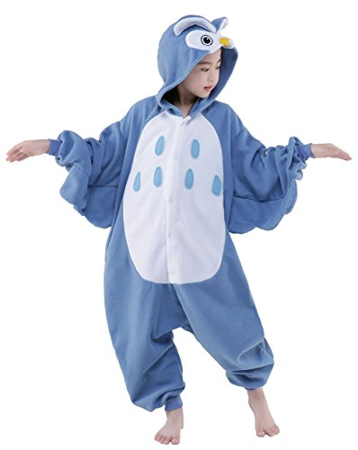 Two Piece Toga Costumes (Olasante Unisex Child Kid Blue Owl Cosplay Costume Pajamas Masquerade Costume Jumpsuit Outfit,4-85)