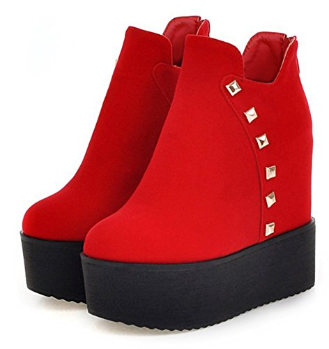 Red Boots Thick Sole Trendy Platform Women's Heel Wedges Rivet Aisun Hidden xqzIvWpfI7