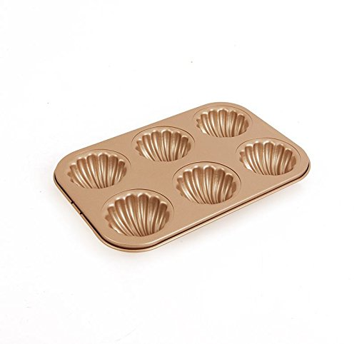 Madeleine Pans 6-Cup Shell Cake Baking Cup Mould Non Stick Gold Carbon Steel 2.5inch cup Bakeware novadecor
