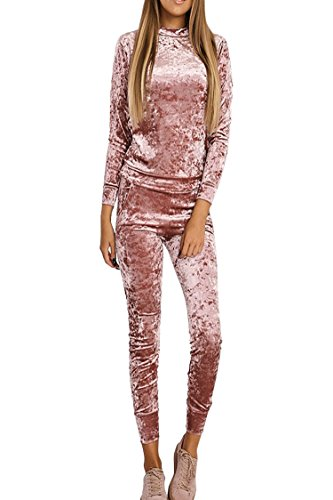 Rokiney Women Winter Velour Velvet Jogger Lounge Wear Crewneck 2 PCS Set Pink L