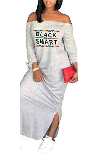 Yootiko Women Sexy Off The Shoulder Letter Print Long Sleeve Slit Side Bowknot Casual Loose Long T Shirt Maxi Dress Gray M