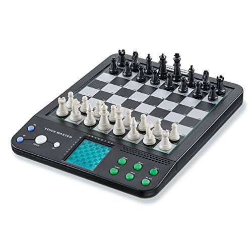 Croove Electronic Chess and Checkers Set with 8-in-1 Board Games, for Kids to Learn and Play (Best Chess Computer Game)
