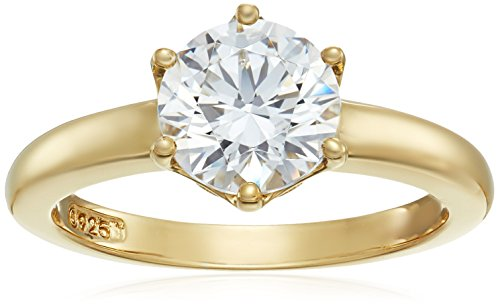 (Yellow-Gold-Plated Sterling Silver Swarovski Zirconia Round Solitaire Ring, Size 7)