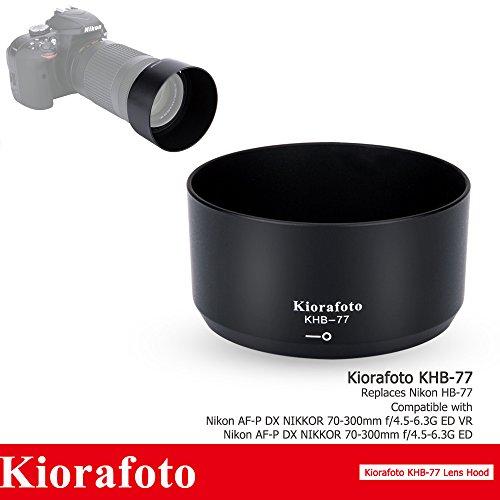 Kiorafoto Reversible Bayonet Lens Hood Protector Shade for Nikon AF-P DX NIKKOR 70-300mm f/4.5-6.3G ED VR, Nikon AF-P DX NIKKOR 70-300mm f/4.5-6.3G ED Lens, Replaces Nikon HB-77 Lens Hood