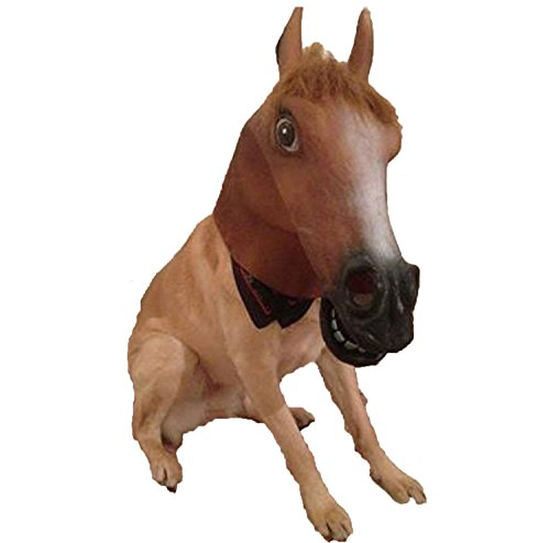 Make A Horse Head Costume (PIUPIU Novelty Halloween Costume Masquerade Party Animal Head Mask - Brown Horse (Brown))