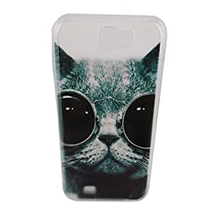 TOPMM Glasses Cool Cat Pattern PC Back Case for Samsung Note 2 N7100