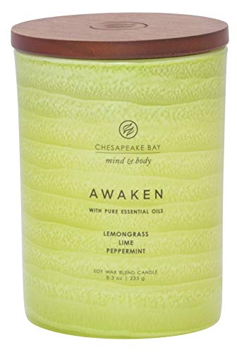 Chesapeake Bay Candle Mind & Body Serenity Scented Candle, Awaken with Pure Essential Oils (Lemongrass, Lime, Peppermint), Medium