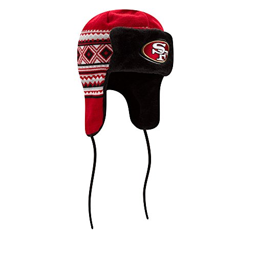 NFL San Francisco 49ers Team Trim Trapper Knit Hat, One Size, Red/Black
