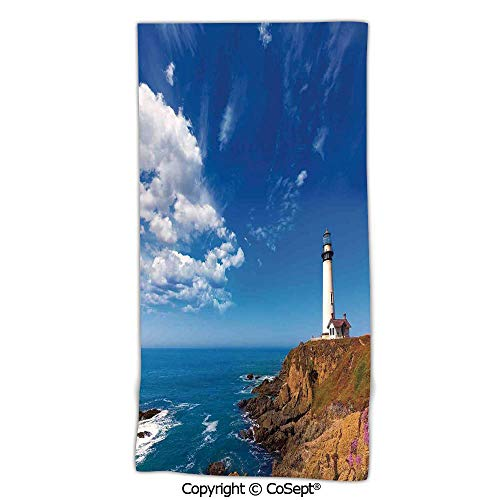 - Quick-Dry Bath Towels,California Pigeon Point Lighthouse in Cabrillo HWY Coastal Highway State Route 1,Made with 100% Microfiber