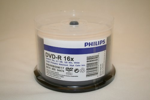 Philips Brand Blank DVD-R 16x Disc, 50 Pack. White Inkjet Printable Top Surface, Metalized Hub. Cake Box Spindle Pack. 4.7GB 120 min.
