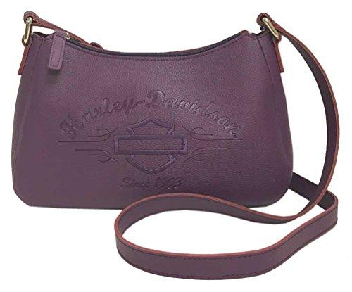 Harley-Davidson Women's Purple Script Embossed Shoulder Bag LSE6127-PURPLE -