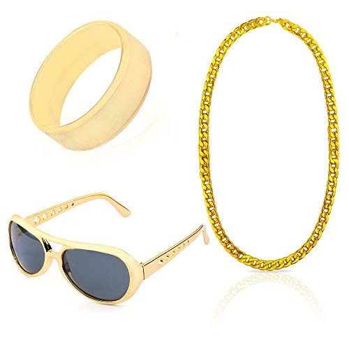 Beelittle 80s 90s Hip Hop Rapper Gangster Costume Kit - Retro Glasses Gold Chain Necklace Gold Plated Hip Hop Ring Accessories Kit (C) -