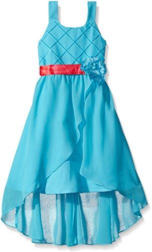 Girls Rare Editions (Rare Editions Big Girls' Linen To Chiffon Social Dress, Blue, 8)