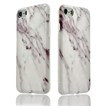 iphone 5s case marble, Sunroyal New Glamour Series [All New Design] Flexible Soft TPU Silicone Hybrid Cover with Fabulous Glossy Marble Stone Pattern for iPhone 5 5s SE [White Marble Natural Pattern]