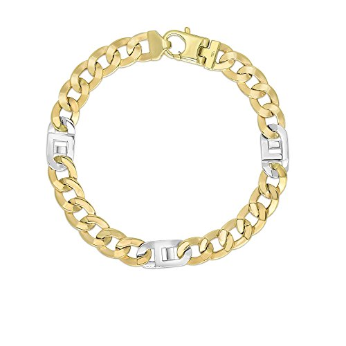 14k Two Tone Yellow And White Gold 8.5 Inch Polish Finish Curb Mariner Bracelet by Diamond Sphere