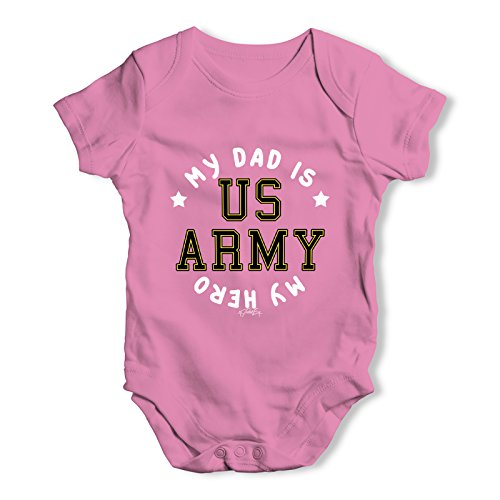 (TWISTED ENVY Baby Unisex Army My Dad is My Hero Baby Grow Bodysuit 0-3 Months)